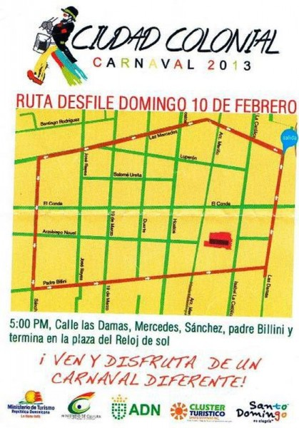 Parade Route for Carnaval Cuidad Colonial 2-10-2013