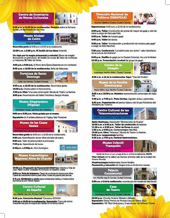 Schedule of Noche Larga de los Museos Activities