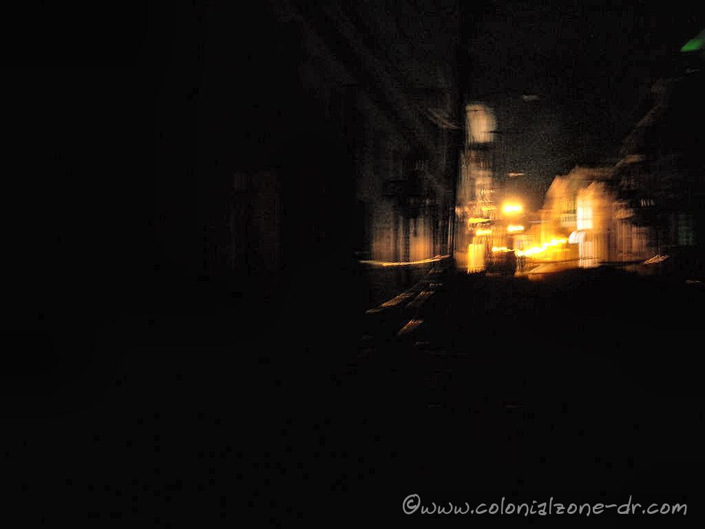 Calle Isabel la Catolica. The dark ares is Calle Portes looking up toward the lights toward Padre Billini