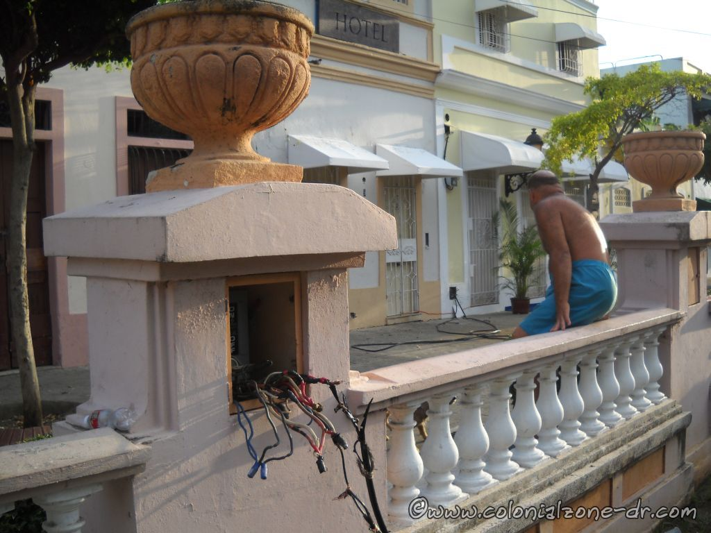 Running wires so the hotel and residents can get electricity
