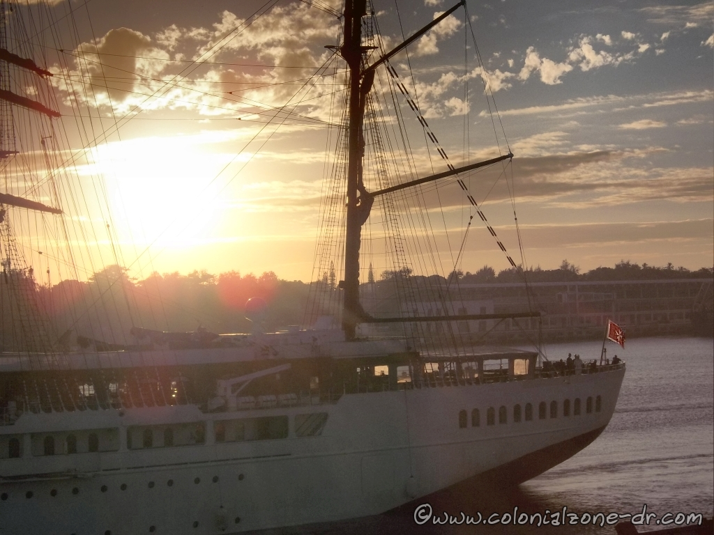 Sun rising over the Colonial Zone and the Sea Cloud II comes into port