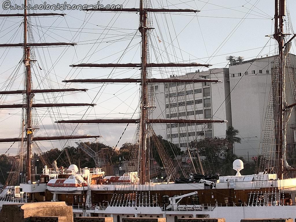 Sea Cloud entering port at Santo Domingo, Dominican Republic
