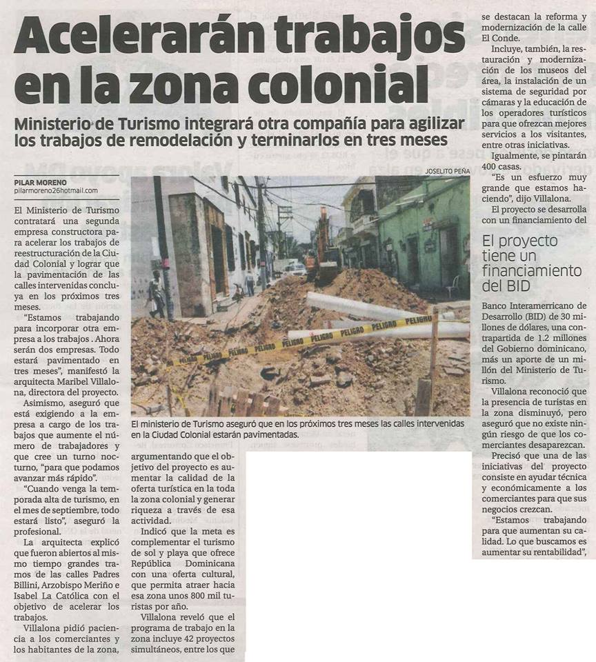 Newspaper article announcing to speed up the work in the Colonial Zone