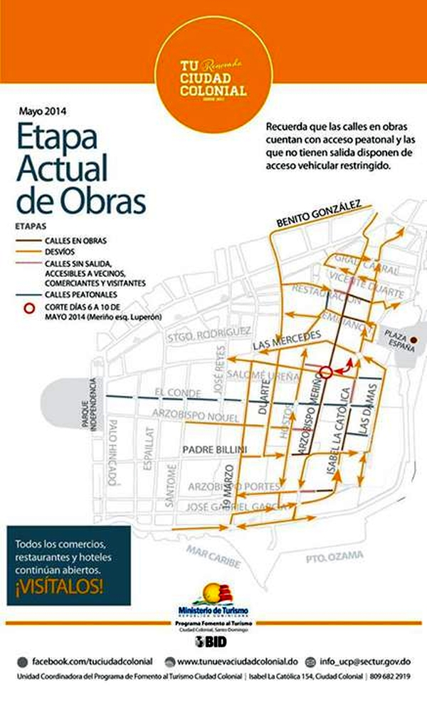 The new map of roads closed and detours in the Colonial Zone