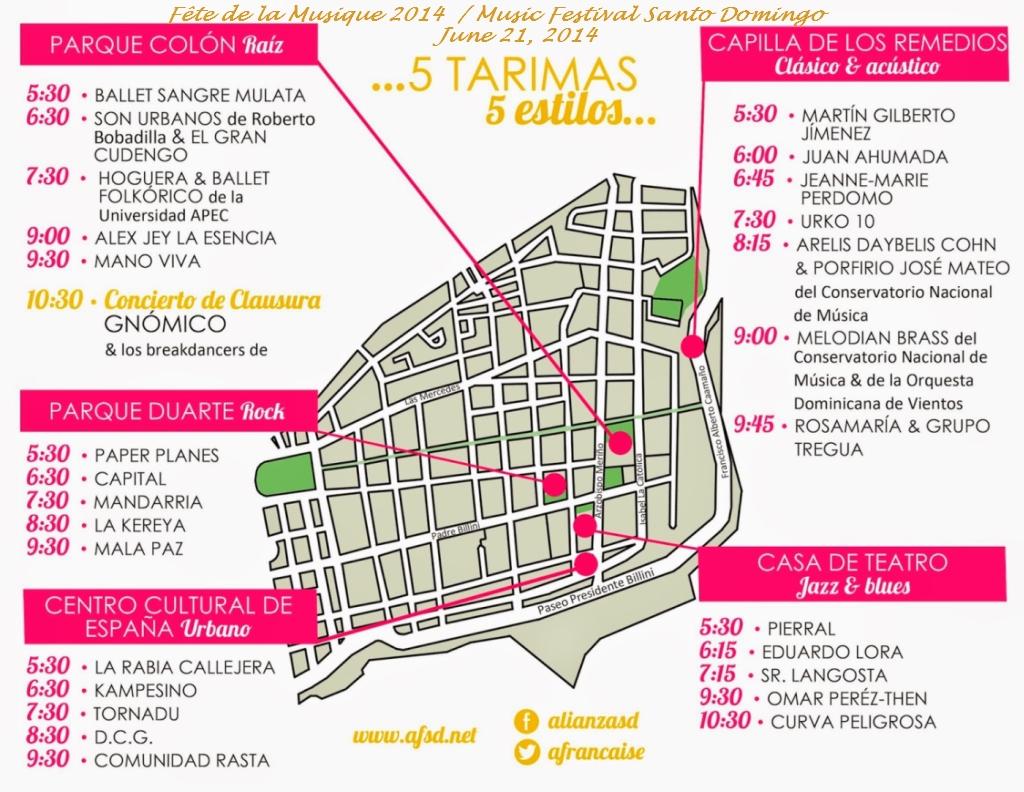 fete de la musique / music festival santo domingo 6-21-2014  schedule