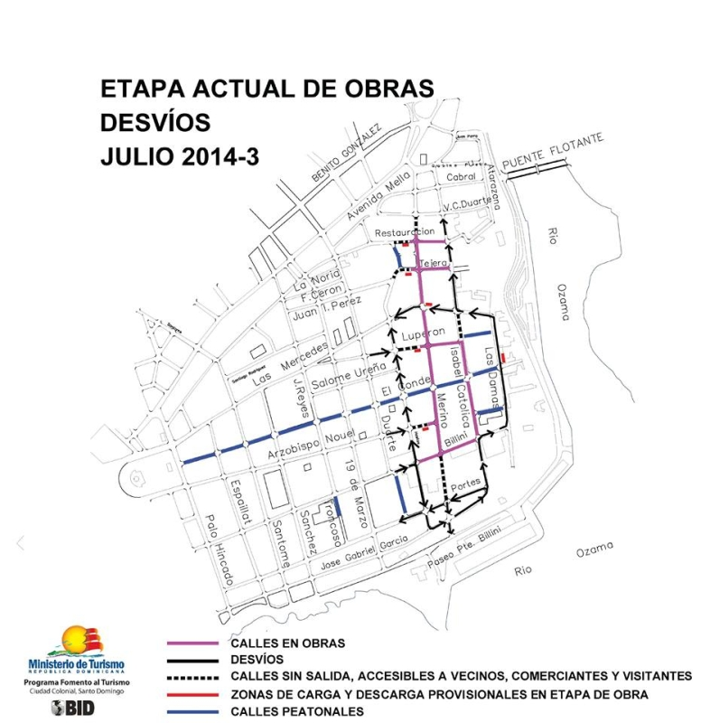 Map Ciudad Colonial - Open, closed and limited access roads during the construction July and August 2014