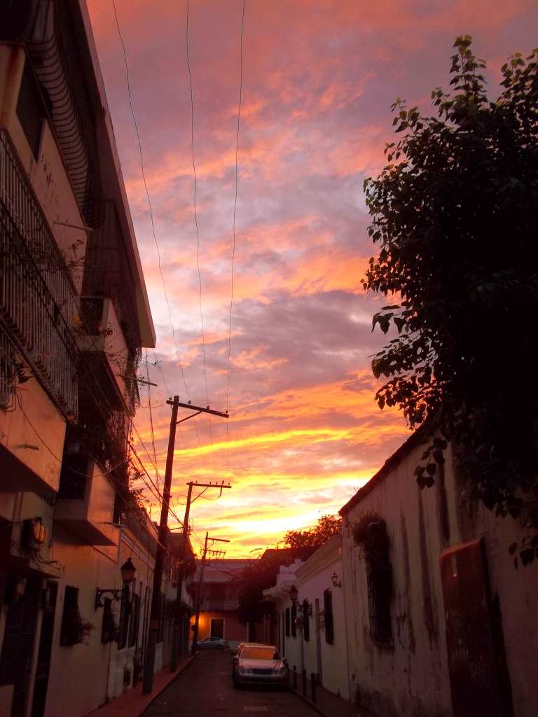 Dawn at Calle Salome Ureña at Duarte, Colonial Zone, Santo Domingo