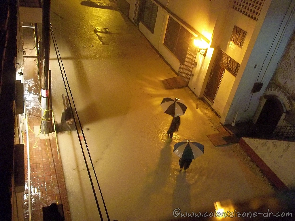 Calle Isabel la Catolica flooded by Tormenta Bertha.