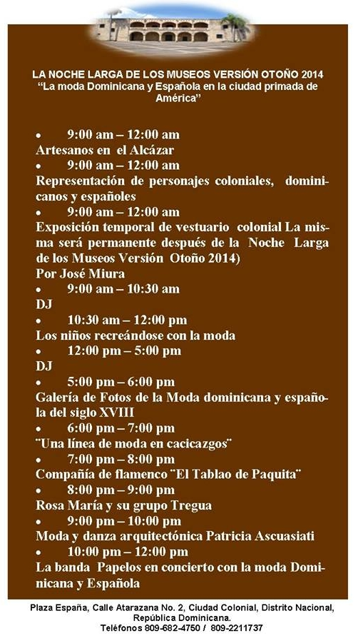 Events at Alcazar de Colon September 27, 2014