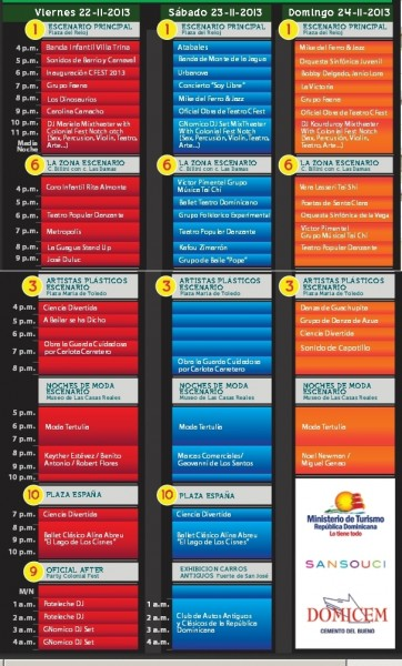 Schedule Colonial Fest 2014 - Please click to enlarge.