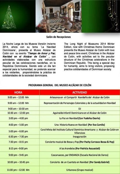 Noche Larga de los Museos Schedule for Alcázar de Colón 12-2014