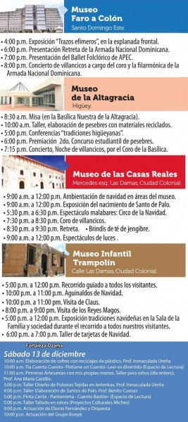 Noche Larga de los Museos Schedule of Events 12-2014