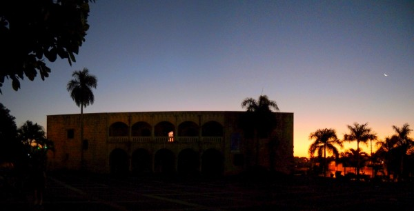 Panoramic image of the Alcazar de Colon in the pre-dawn hours