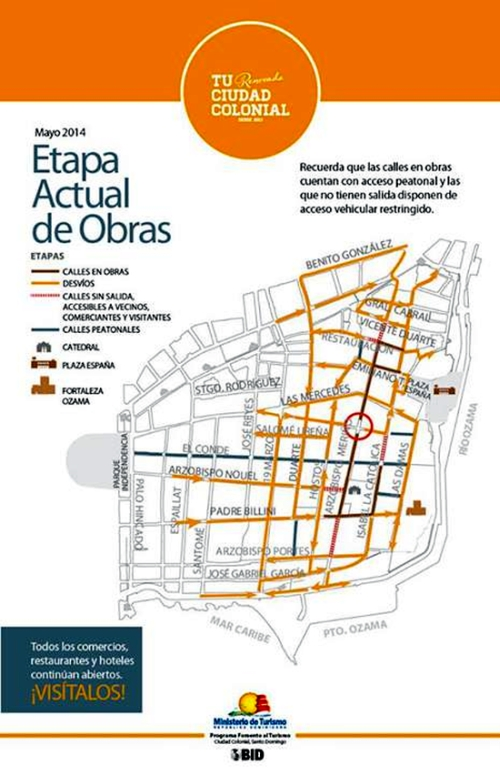 Map of roads open, closed and detours around the Colonial City for June