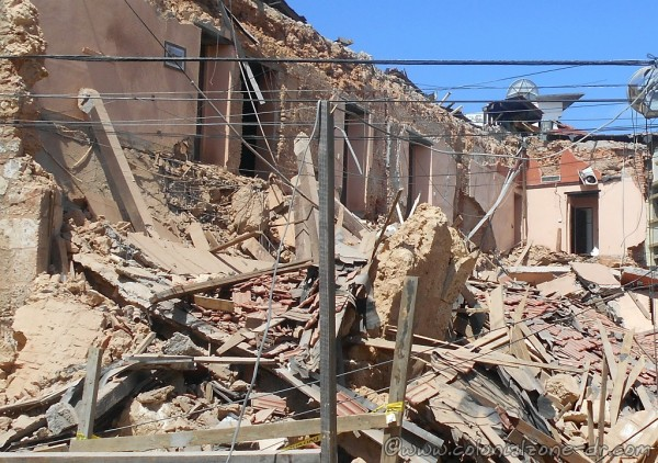Hotel Francis collapse. You can see the hotel rooms and the picture on the wall