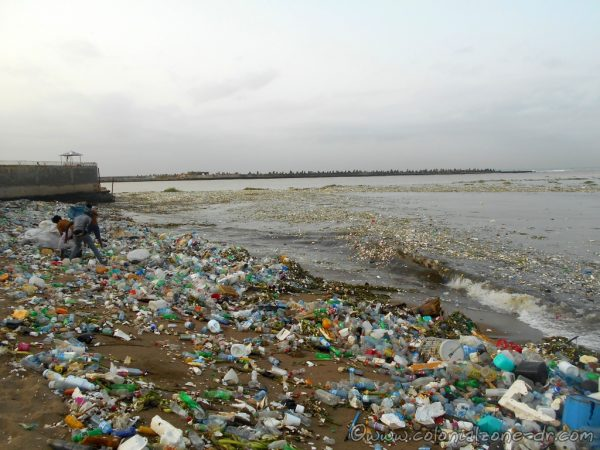 Pollution after Hurricane - Tropical Storm Beryl passed (July 12, 2018) through Santo Domingo. Playita Montecino.