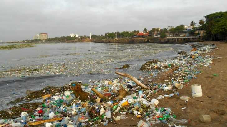 Pollution in the Caribbean Sea after Hurricane - Tropical Storm Beryl passed (July 12, 2018) through Santo Domingo. Playita Montecino, also known as Playa Placer de los Estudios.