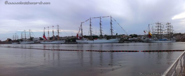 Panorama of the ships in port Don Diego, Santo Domingo, for Velas Latinoamérica 2018.