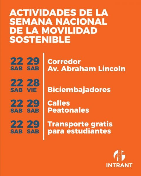 Semana Nacional de Movilidad Sostenible Intrant/ National Week of Sustainable Intrant Mobility - Santo Domingo