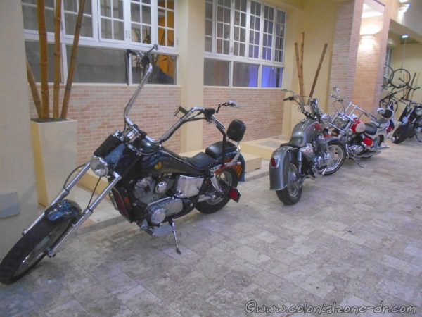 Harley parked at a hotel in the Colonial Zone the morning after the event in 2015