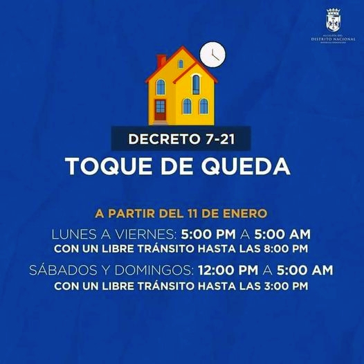 Dominican Republic Toque de Queda / Curfew for January 11 to 26, 2021