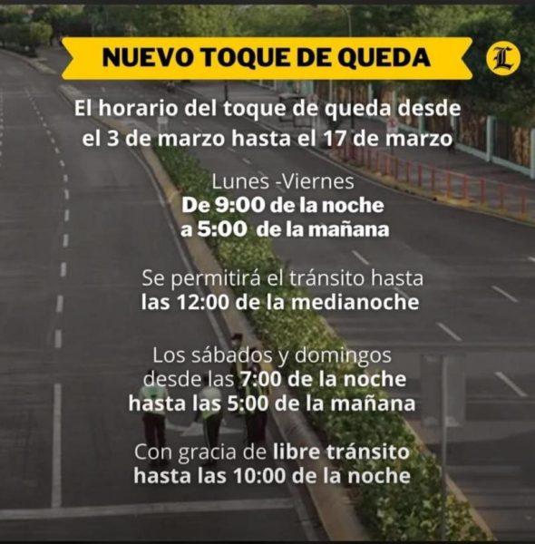 Dominican Republic curfew / toque de queda March 3 to March 17, 2021.